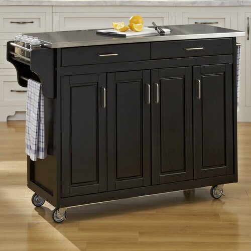 home styles create a cart kitchen island with stainless alcott hill bernice kitchen island with stainless steel