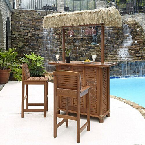 Patio Tiki Bar : Home Styles Bali Hai 3 Piece Tiki Bar Set