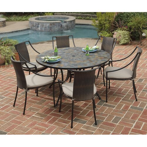 Home Styles Stone Harbor 7 Piece Dining Set with Cushions