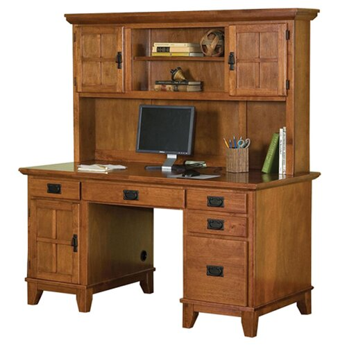 Home Styles Arts and Crafts Pedestal Computer Desk and Hutch