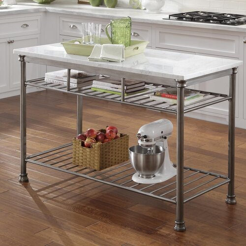 Home Styles Orleans Prep Table with Marble Top
