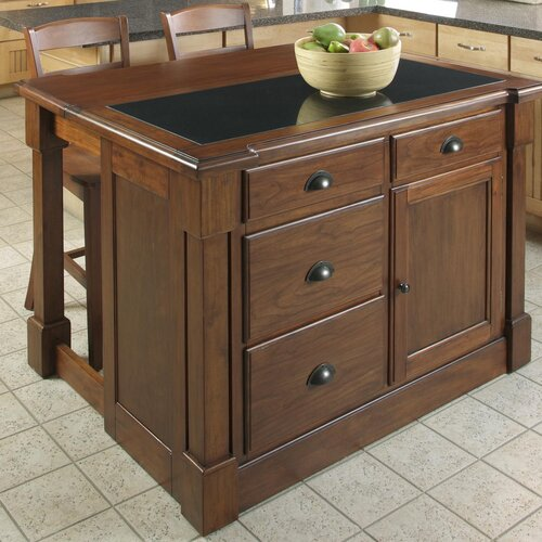 Home Styles Aspen Kitchen Island with Granite Top