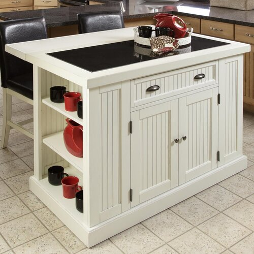 Home styles nantucket kitchen island with granite top for Nantucket style kitchen