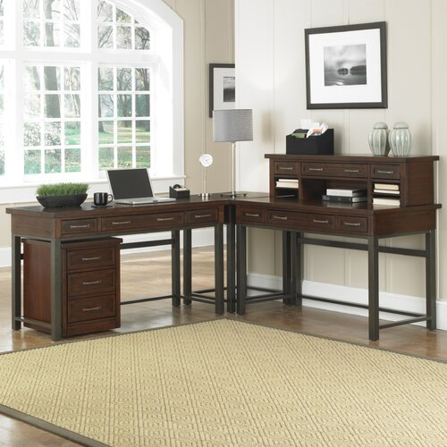 Home Styles Cabin Creek Computer Desk with Keyboard Tray and Hutch
