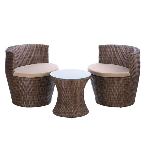 3 Piece Modern Woven Patio Set