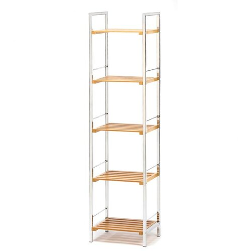 Zingz & Thingz Chrome & Bamboo Slatted Shelves