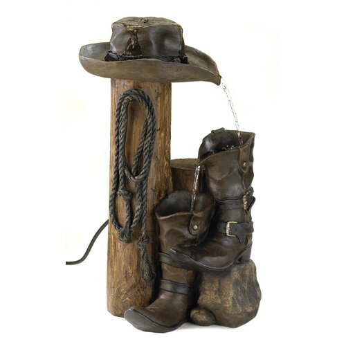 Cowboy Boots Polyresin Water Fountain