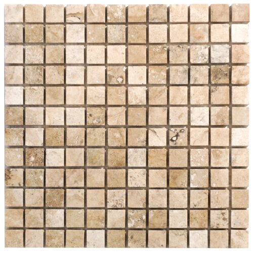 Philadelphia Travertine Mosaic Filled and Honed Tile in Beige and Gray