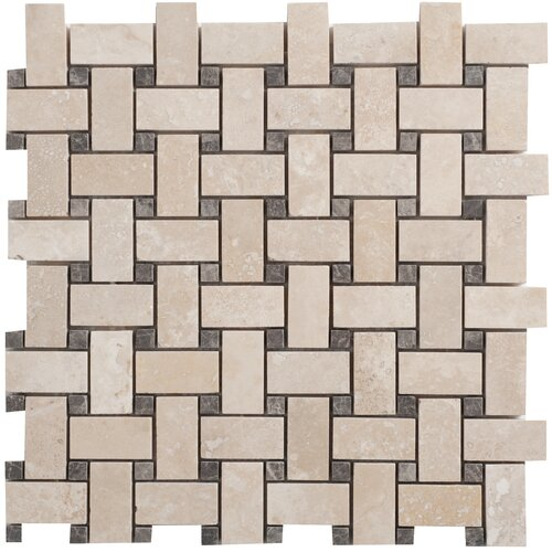 Travertine Basketweave Filled and Honed Random Sized Tile in Light Ivory