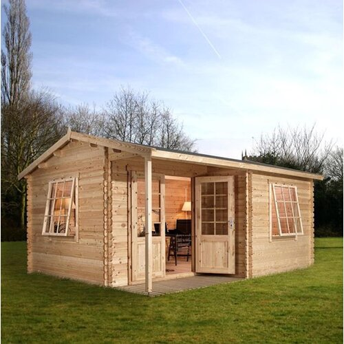 Mercia Garden Products 16.4ft W x 13.12ft D Wood Log Cabin Shed