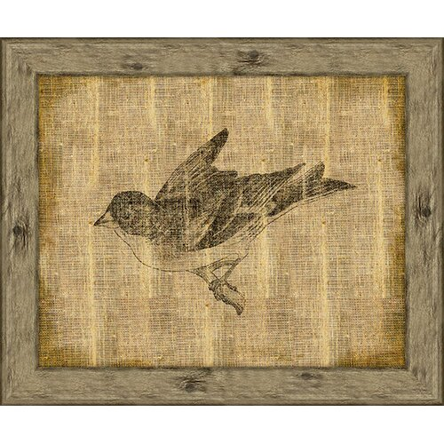 Bird On Antique Linen I Framed Art