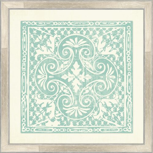 Melissa Van Hise Tiles IV Framed Graphic Art in Agean