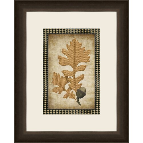 Houndstooth Leaves I Framed Graphic Art