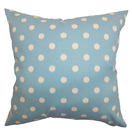 The Pillow Collection Rennice Ikat Dots Cotton Pillow