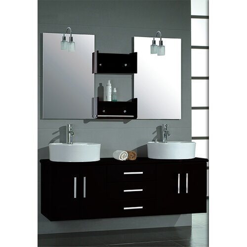 "Cambridge Plumbing Hematite 59"" Wall Mount Double Bathroom Vanity Set"
