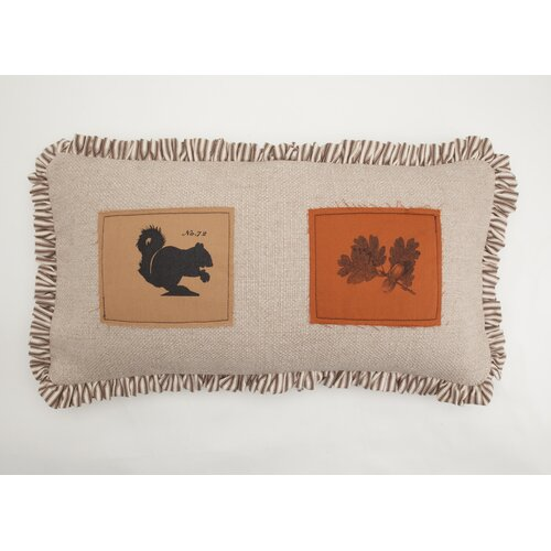 Provence Home Collection Squirrel and Oak Leaf Patch Pillow