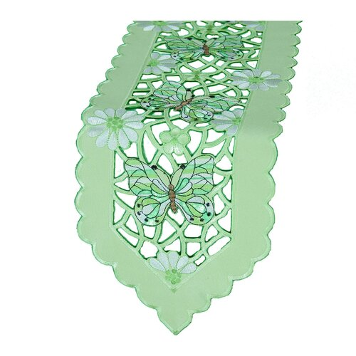 Emerald Mariposa Embroidered Cutwork Table Runner
