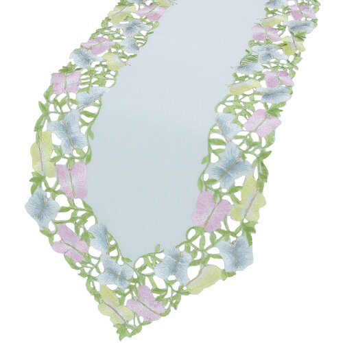 Butterfly Minuet Embroidered Cutwork Table Runner