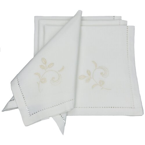 Belle Garden Floral Embroidered with Hemstitch Napkin (Set of 4)