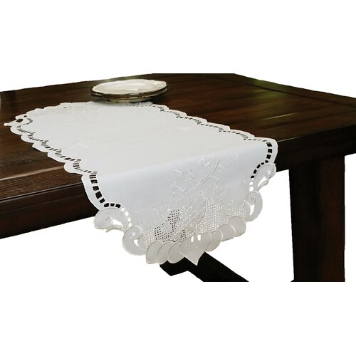 Grapes and Leaves Embroidered Cutwork Table Runner