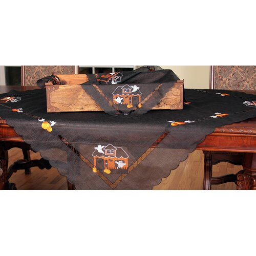 Haunted House Embroidered Cutwork Table Topper