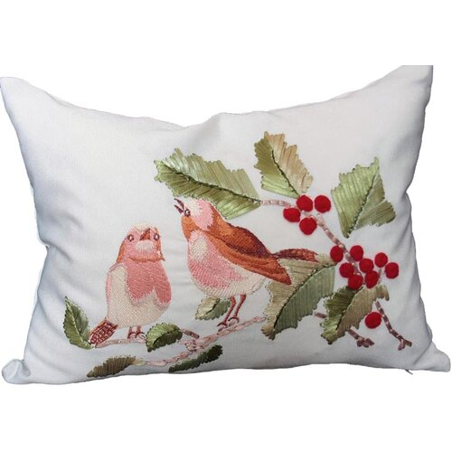 Xia Home Fashions Holiday Birds on Holly Pillow