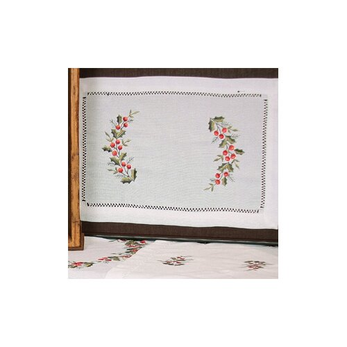 Holly Berry Embroidered Hemstitch Holiday Placemat (Set of 4)