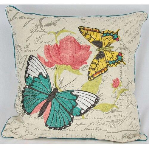 Manor Luxe Papillion on Rose Cotton Pillow