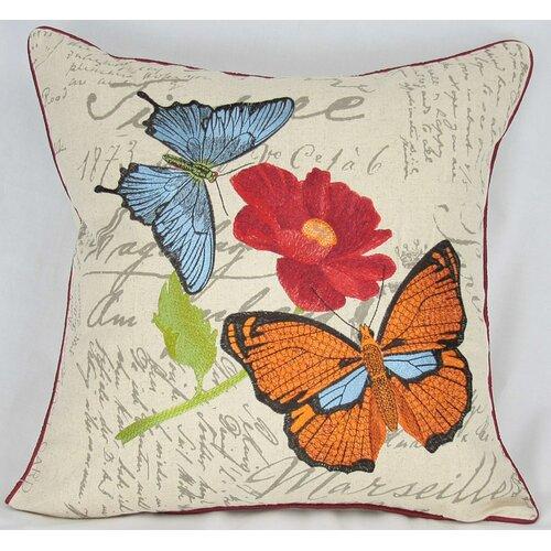Manor Luxe Papillion on Poppy Cotton Pillow