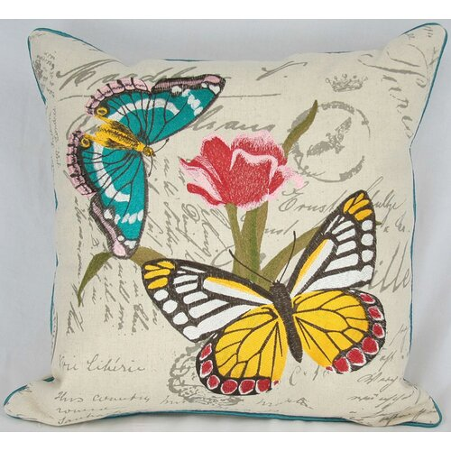 Papillion on Tulip Cotton Pillow