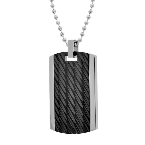 GoldnRox Stainless Steel Textured Dog Tag Pendant