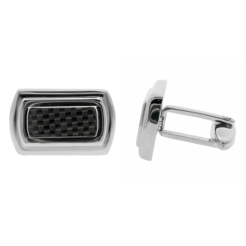 GoldnRox Stainless Steel Carbon Inlay Cufflinks