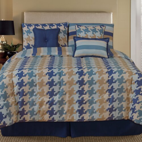 Home Fashions International Palmetto Print Works Pixel 7 Piece Comforter Set