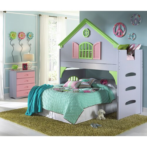 Donco Kids Twin Doll House Loft Bed with 4 Drawer Chest