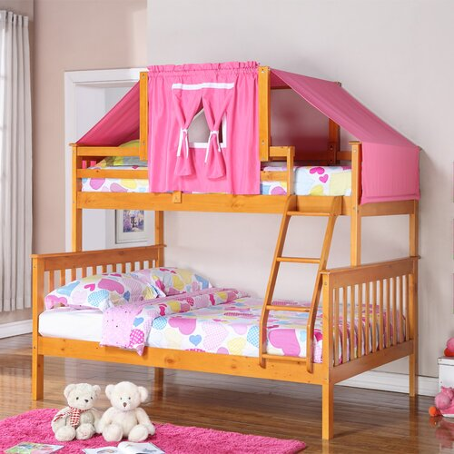 Donco Kids Twin Over Full Mission Bunk Bed with Tent Kit