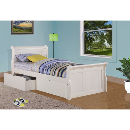 Donco kids sleigh bed with dual underbed drawers reviews wayfair - Kids bed with drawers underneath ...