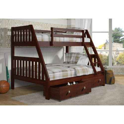 Twin over full bunk bed with dual under bed drawers wayfair - Loft bed with drawers underneath ...