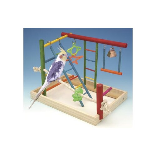 Penn Plax Large Wooden Playground Bird Activity Center