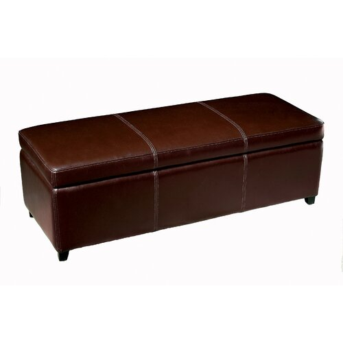Wholesale Interiors Philostrate Leather Storage Ottoman Bench