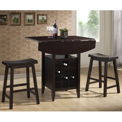 Baxton Studio Reynolds 3 Piece Pub Table Set