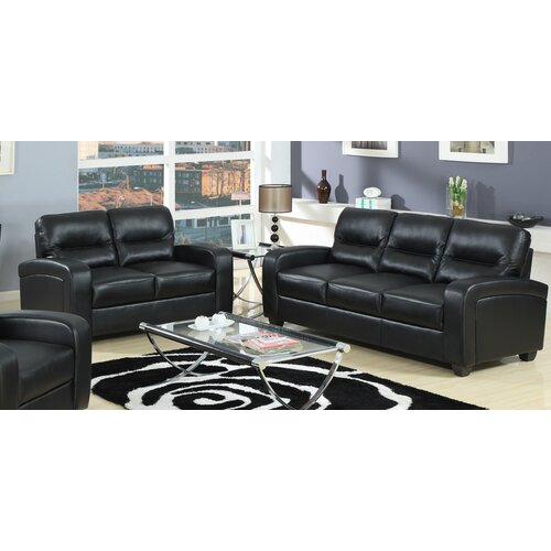 Baxton Studio Duncan Leather Modern Sofa Set