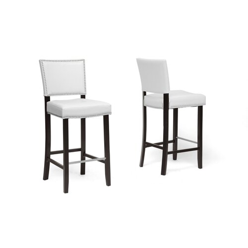 Baxton Studio Aries Bar Stool with Cushion (Set of 2)