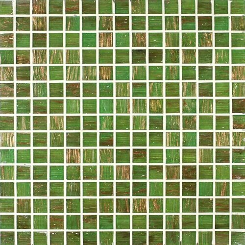 Gold Leaf Glass Tile in Rainforest Green