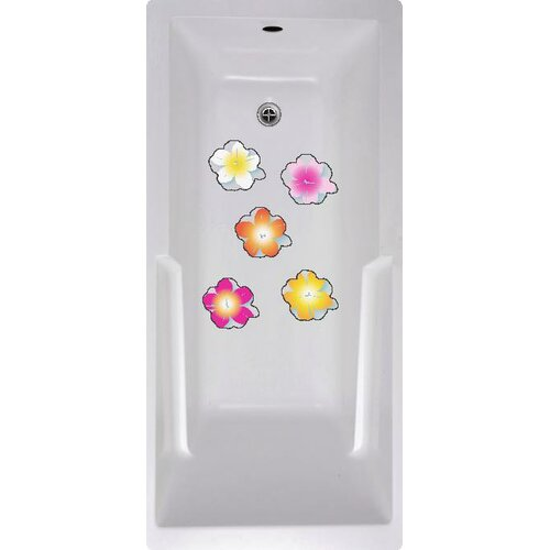 No Slip Mat by Versatraction Flowers Bath Tub and Shower Treads (Set of 5)