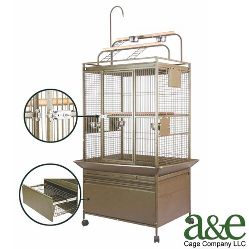 A&E Cage Co. Small Deluxe Play Top Bird Cage with Storage Drawer