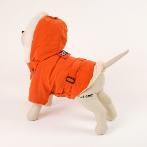 Italian Dog Coat with Faux Fur-Lined Hood in Orange