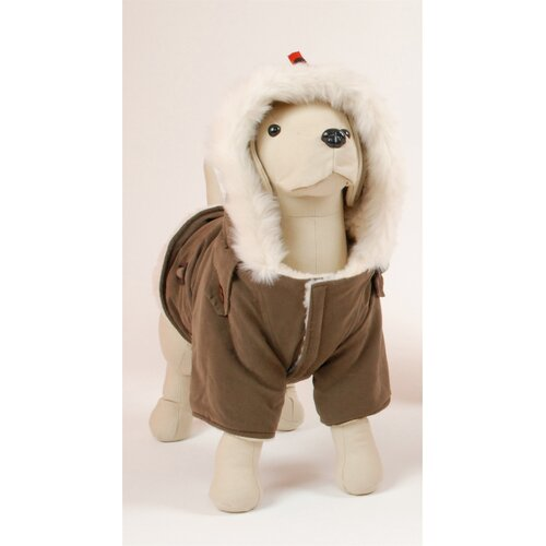 Siberian Dog Coat with Faux Fur-Lined Hood in Brown