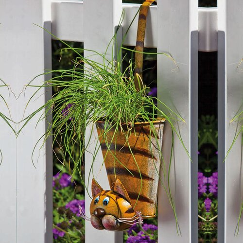 Evergreen Flag & Garden Hanging Cat Planter