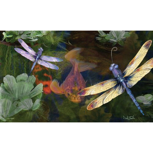 Evergreen Flag & Garden Sublimated Silk Reflections Dragonfly Floormat