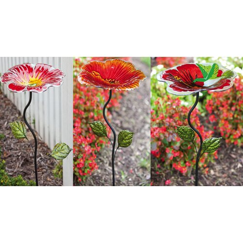 Hummingbird and Flowers with Garden Stake Platform/Tray Bird Feeder (Set of 3)